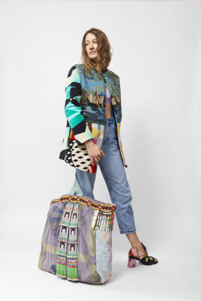 needlepoint coat and bag