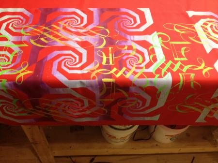 RED SPIRAL SCREEN PRINTED SATIN