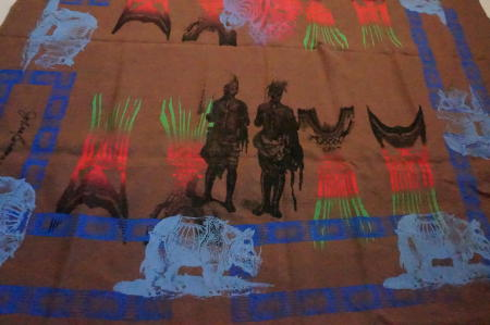 AFRICAN WARRIORS ON BROWN LINEN